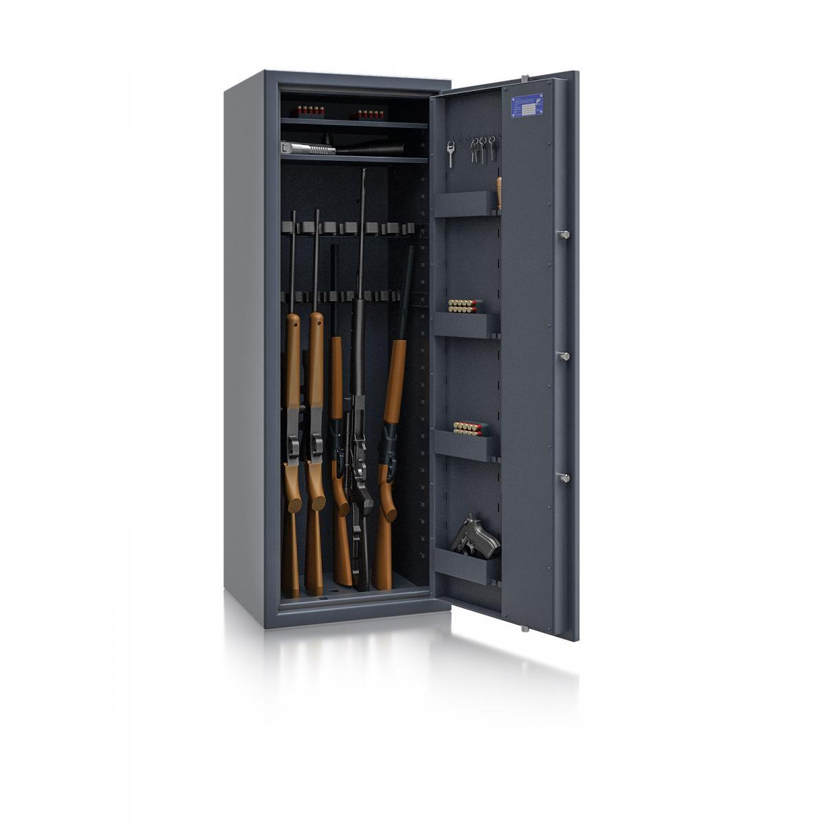 Waffenschrank Luzern WF MAX 1 - 1500x550x450 / 175kg 55631 / Klasse 0 / RAL7024 / Schlüssel / DIN R / ohne Trennw.