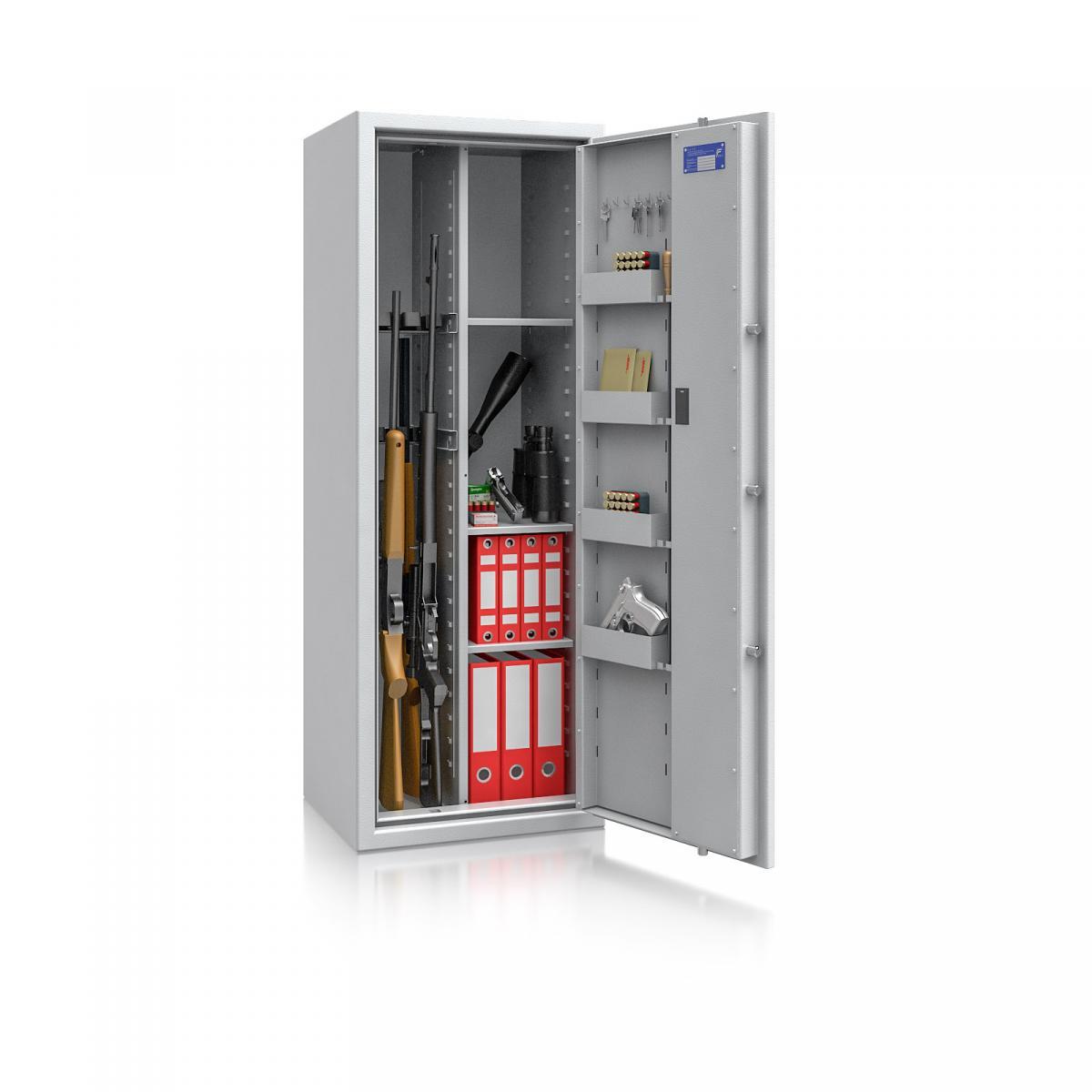 Waffenschrank Luzern WF MAX Kombi 2 - 1500x550x450 / 195kg 55631 / Klasse 0 / RAL7035 / Elektr. Basic / DIN R / mit Trennw.