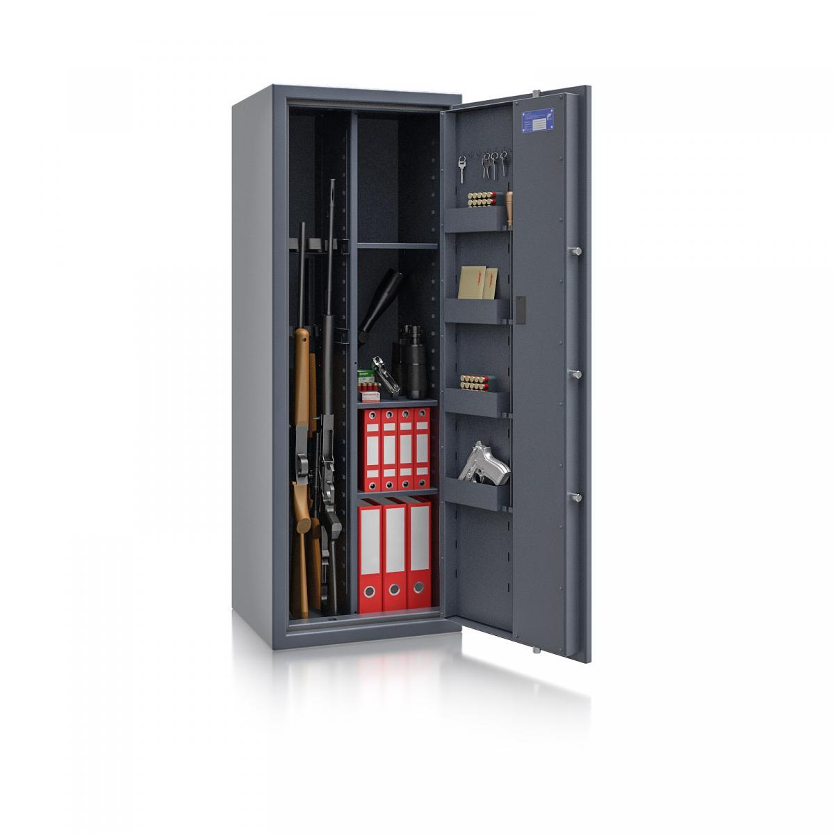 Waffenschrank Luzern WF MAX Kombi 2 - 1500x550x450 / 195kg 55631 / Klasse 0 / RAL7024 / Elektr. Basic / DIN R / mit Trennw.