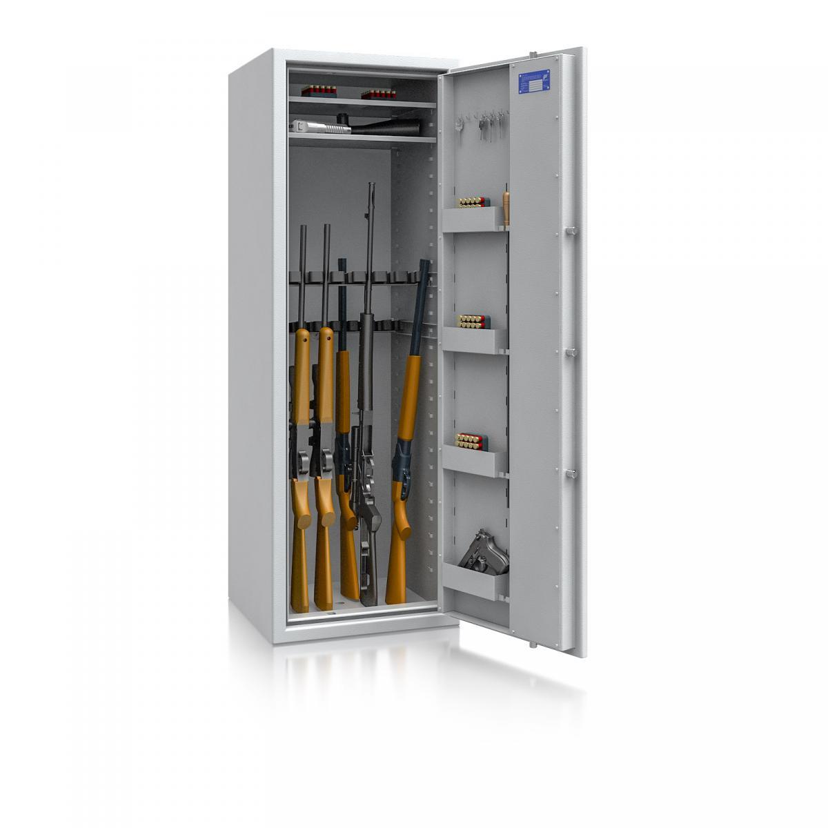 Waffenschrank Luzern WF MAX 2 - 1600x550x500 / 207kg 55632 / Klasse 0 / RAL7035 / Schlüssel / DIN R / ohne Trennw.