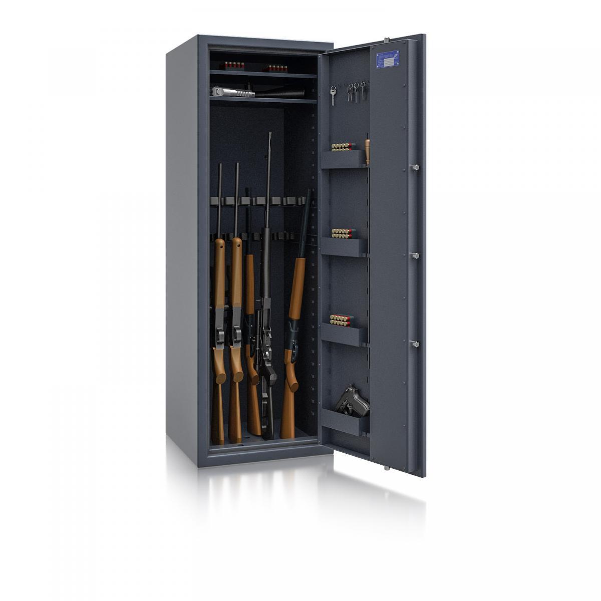 Waffenschrank Luzern WF MAX 2 - 1600x550x500 / 207kg 55632 / Klasse 0 / RAL7024 / Schlüssel / DIN R / ohne Trennw.