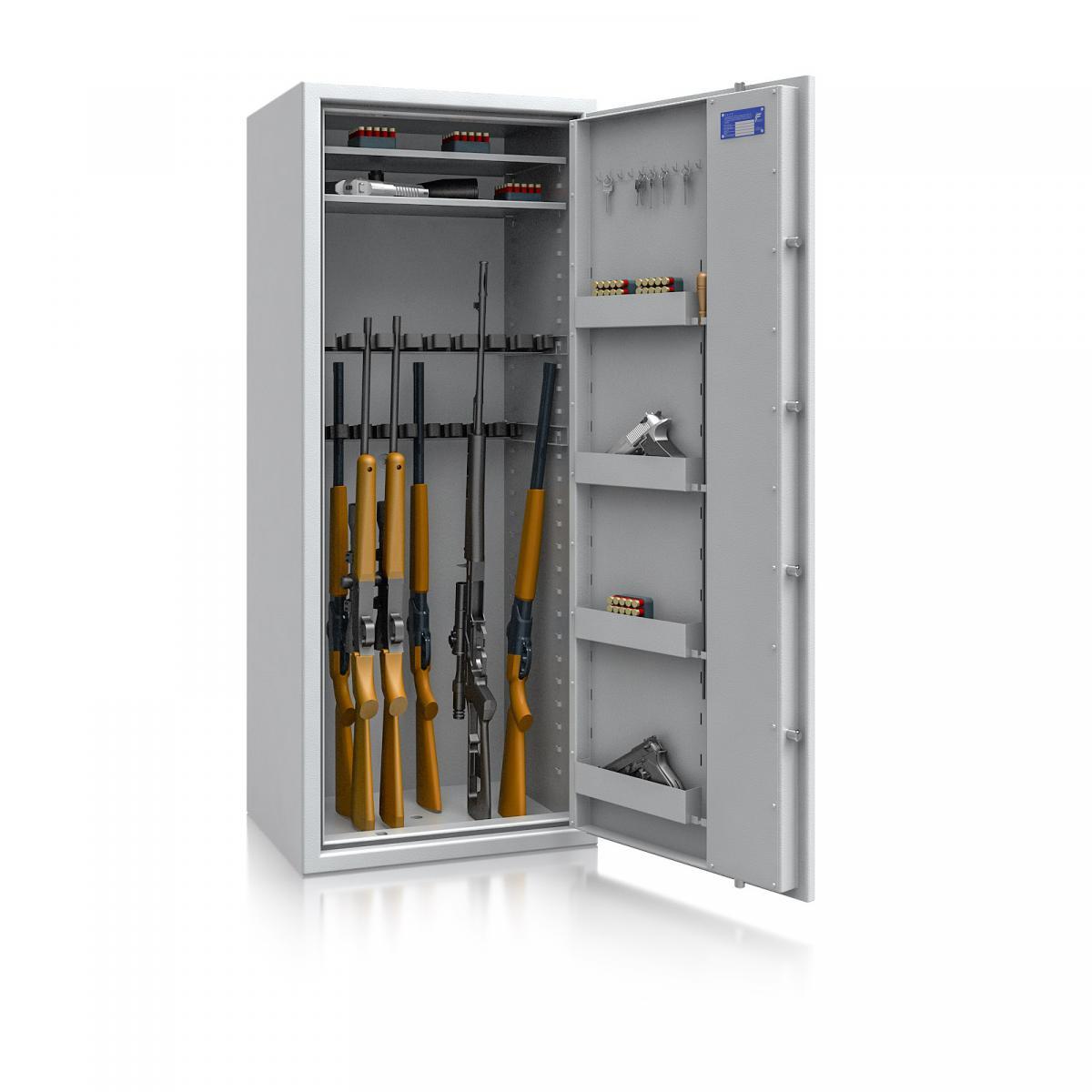 Waffenschrank Luzern WF MAX 4 - 1600x655x500 / 232kg 55634 / Klasse 0 / RAL7035 / Schlüssel / DIN R / ohne Trennw.