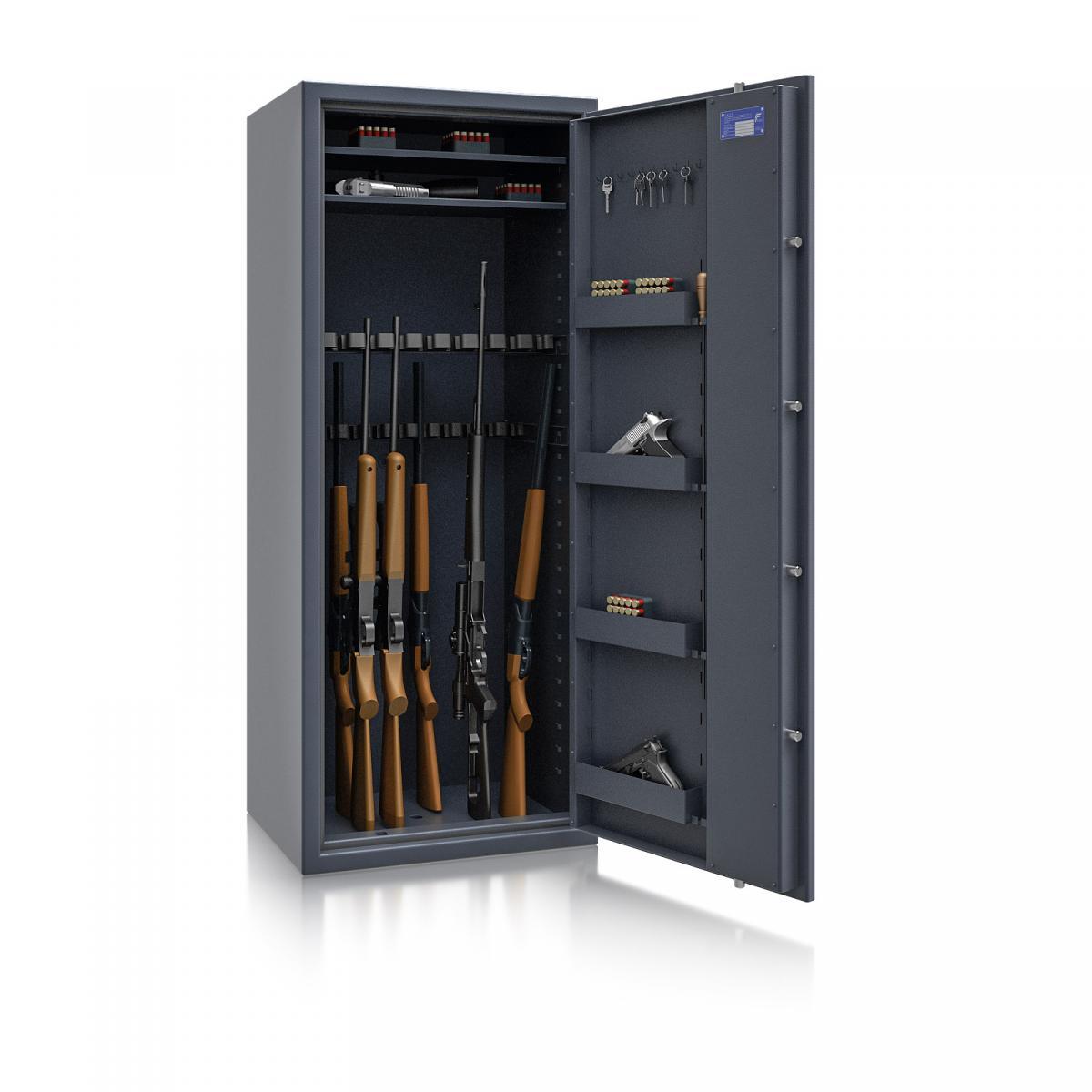 Waffenschrank Luzern WF MAX 4 - 1600x655x500 / 232kg 55634 / Klasse 0 / RAL7024 / Schlüssel / DIN R / ohne Trennw.
