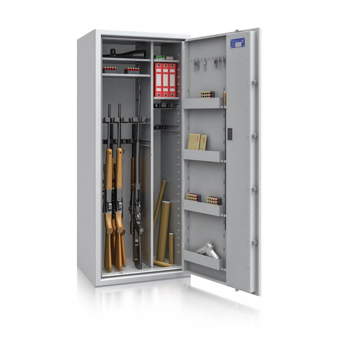 Waffenschrank Luzern WF MAX Kombi 3 - 1600x655x500 / 242kg 55634 / Klasse 0 / RAL7035 / Schlüssel / DIN R / mit Trennw.