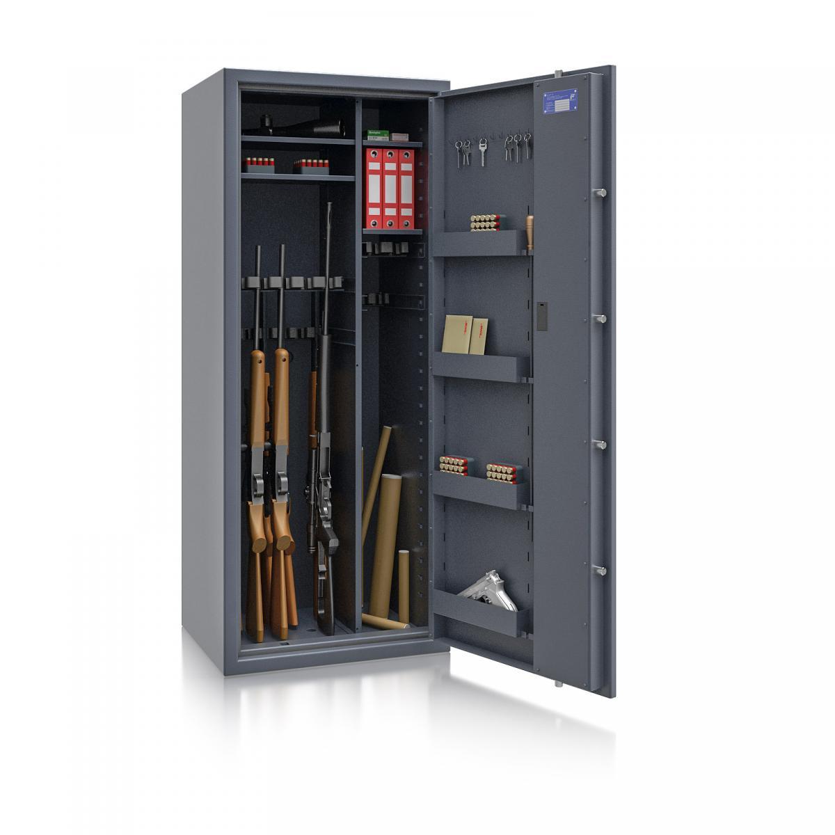 Waffenschrank Luzern WF MAX Kombi 3 - 1600x655x500 / 242kg 55634 / Klasse 0 / RAL7024 / Schlüssel / DIN R / mit Trennw.