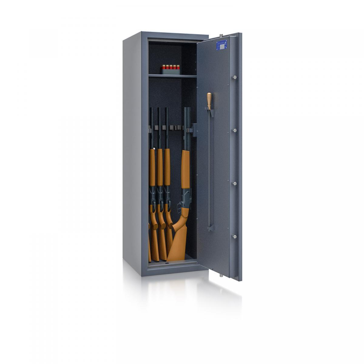 Waffenschrank Luzern WF 5 - 1500x450x450 / 165kg 55649 / Klasse 0 / RAL7024 / Schlüssel / DIN R