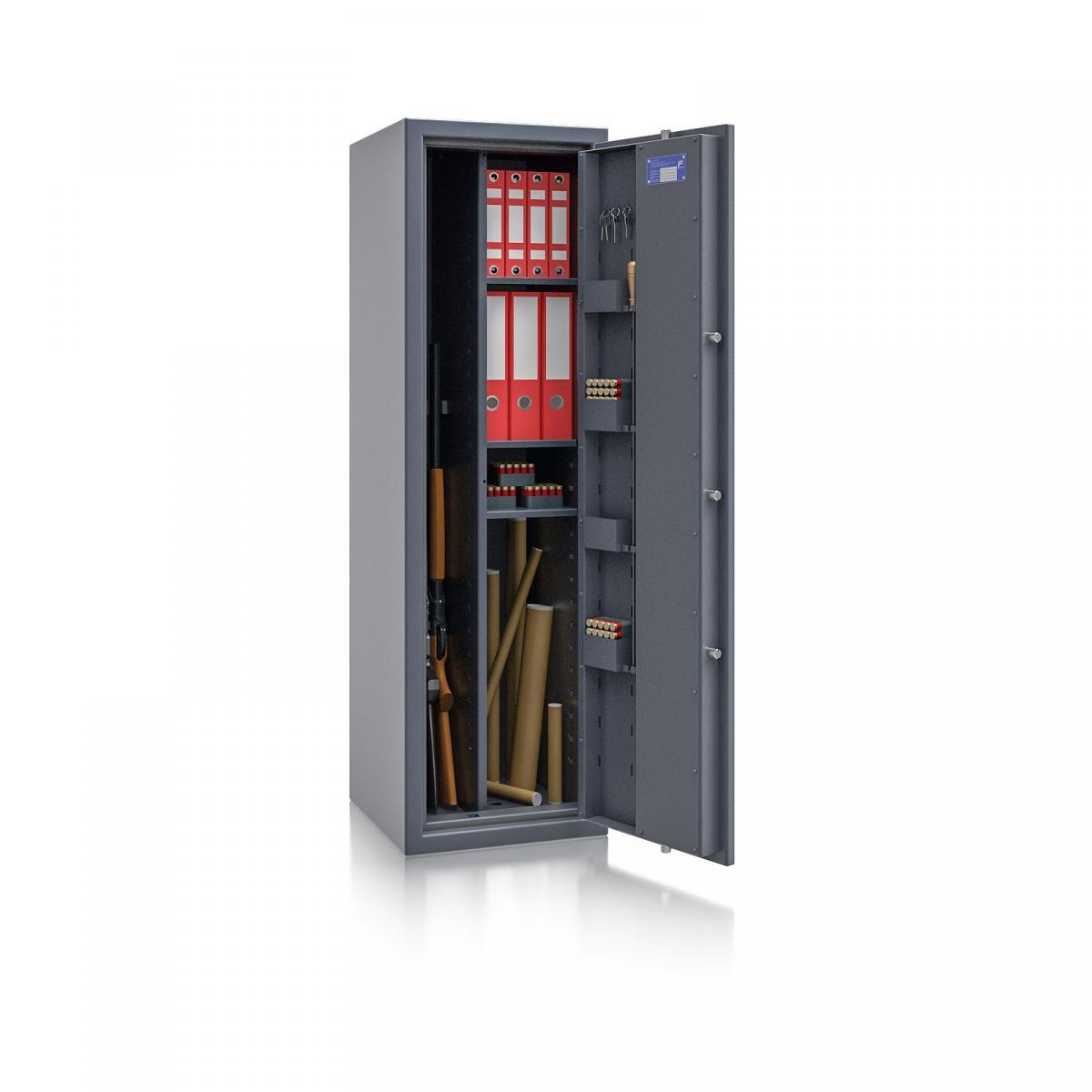 Waffenschrank Luzern WF MAX Kombi 1 - 1500x450x450 / 167kg 55649 / Klasse 0 / RAL7024 / Schlüssel / DIN R / mit Trennw.