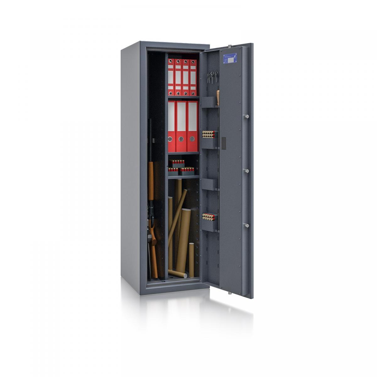 Waffenschrank Luzern WF MAX Kombi 1 - 1500x450x450 / 167kg 55649 / Klasse 0 / RAL7024 / Elektr. Basic / DIN R / mit Trennw.