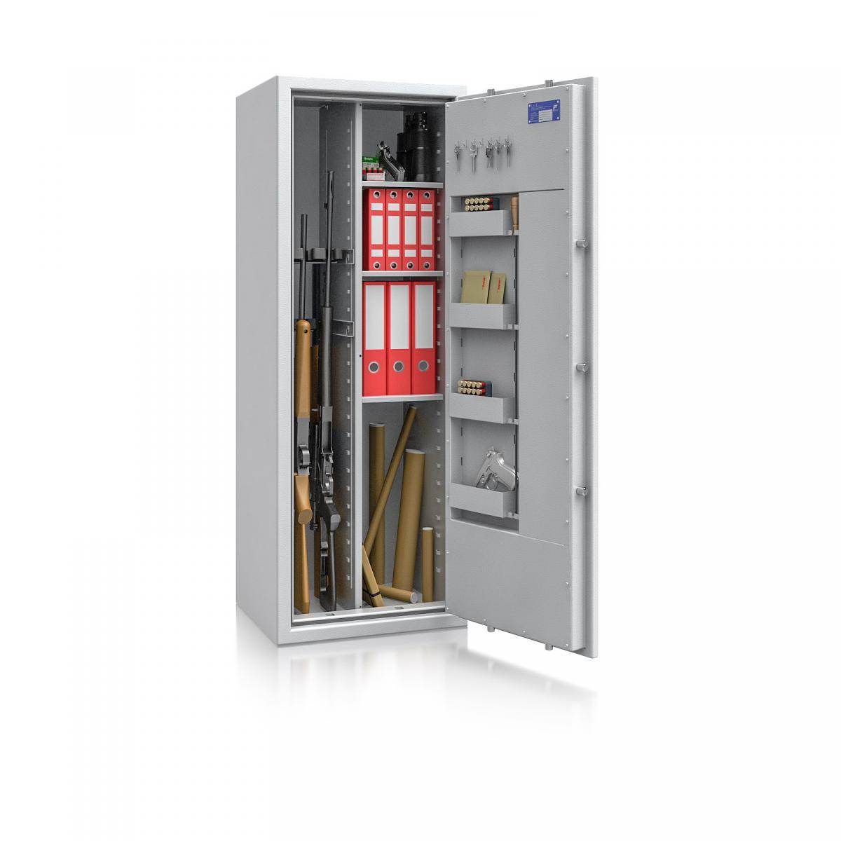 Waffenschrank St. Gallen WF MAX Kombi 2 - 1500x550x450 / 199kg 56466 / Klasse I / RAL7035 / Schlüssel / DIN R / mit Trennw.