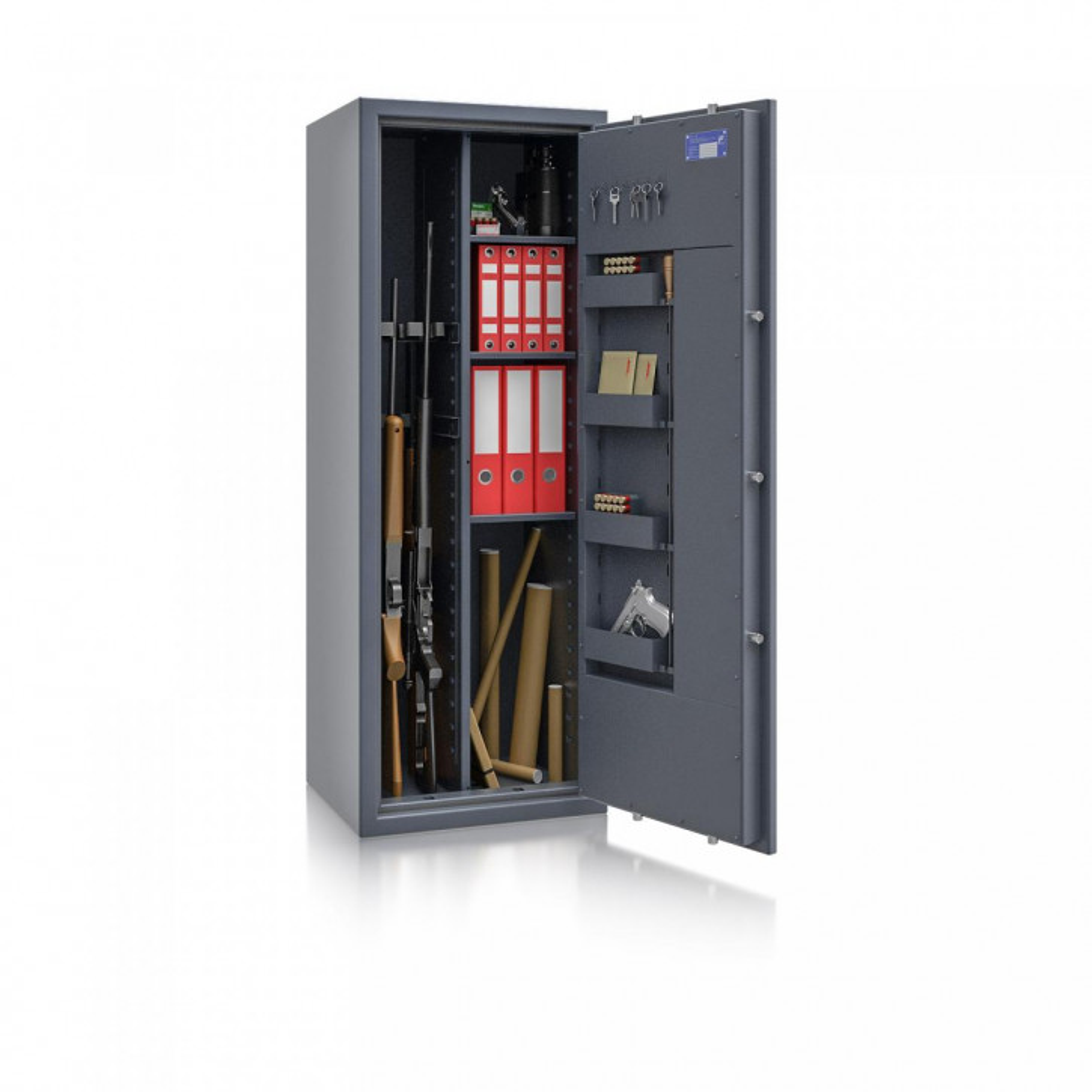 Waffenschrank St. Gallen WF MAX Kombi 2 - 1500x550x450 / 199kg 56466 / Klasse I / RAL7024 / Schlüssel / DIN R / mit Trennw.