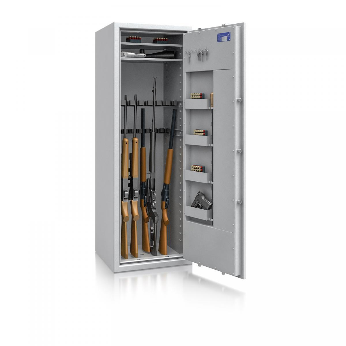 Waffenschrank St. Gallen WF MAX 2 - 1600x550x500 / 212kg 56467 / Klasse I / RAL7035 / Schlüssel / DIN R