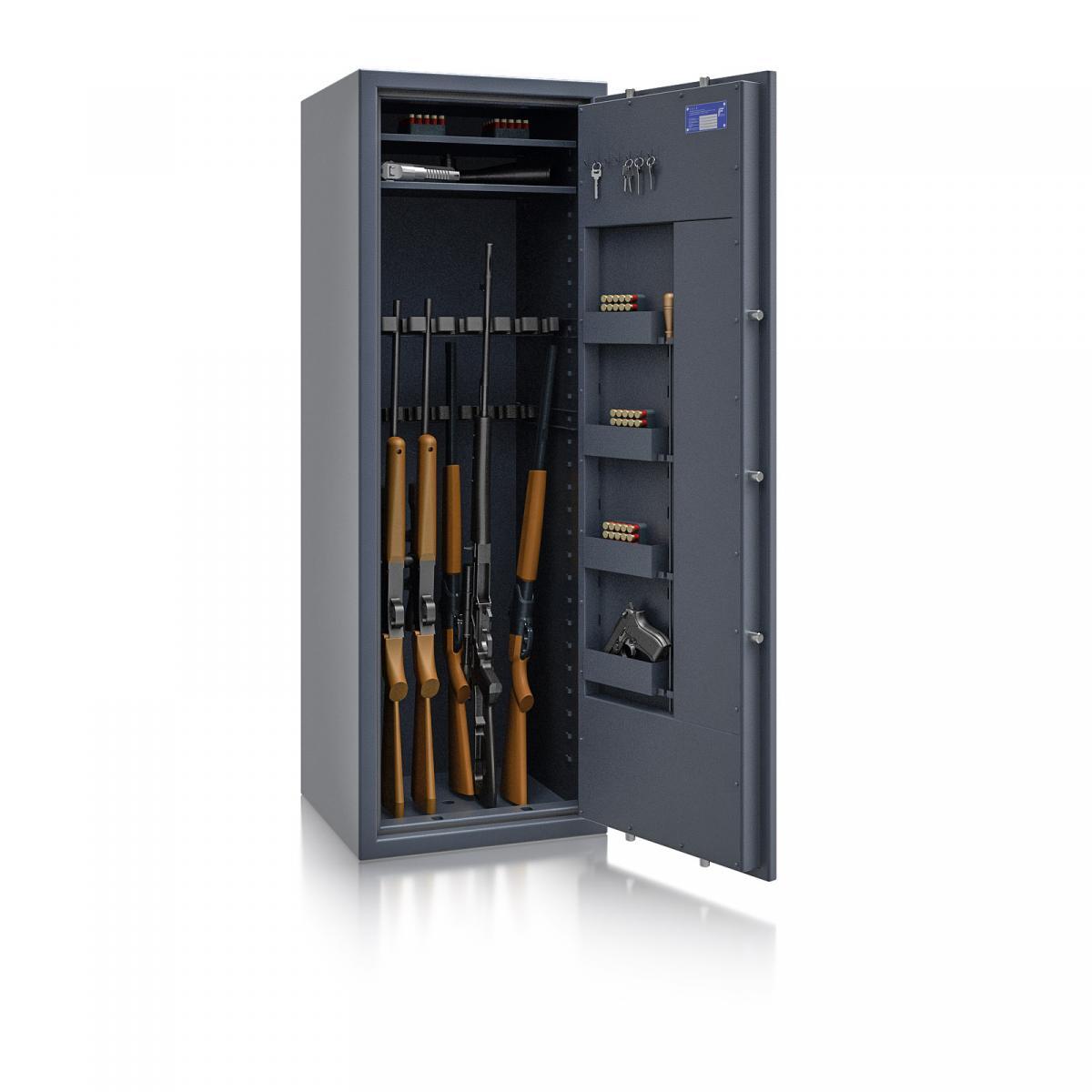 Waffenschrank St. Gallen WF MAX 2 - 1600x550x500 / 212kg 56467 / Klasse I / RAL7024 / Schlüssel / DIN R