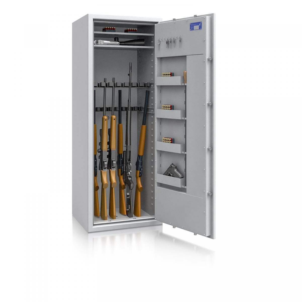 Waffenschrank St. Gallen WF MAX 3 - 1600x600x500 / 225kg 56468 / Klasse I / RAL7035 / Schlüssel / DIN R