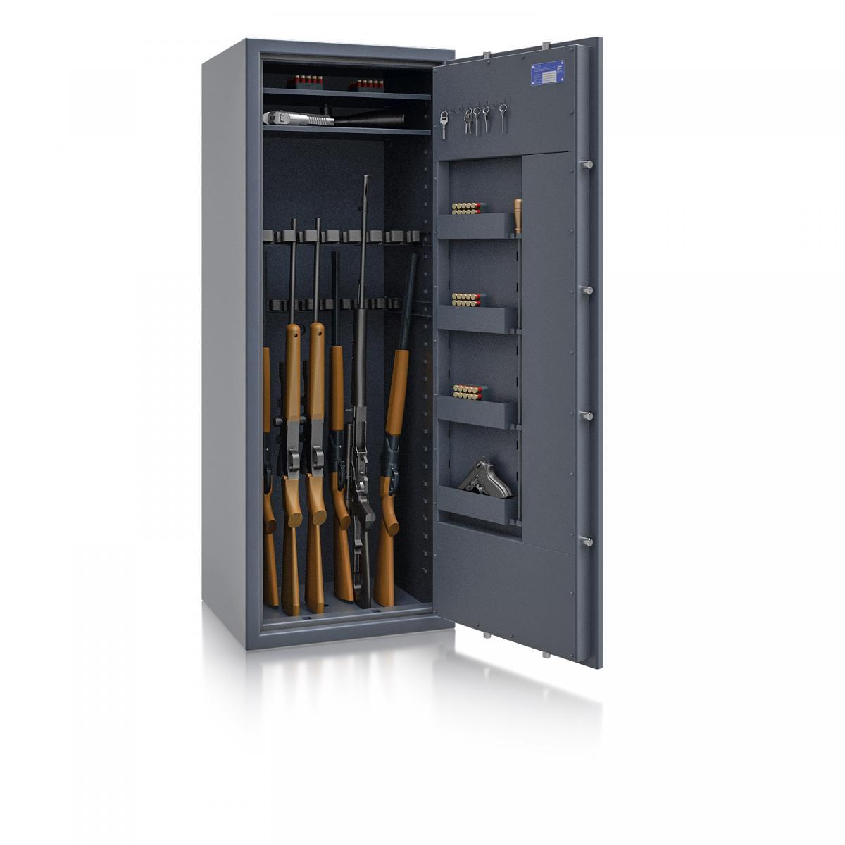 Waffenschrank St. Gallen WF MAX 3 - 1600x600x500 / 225kg 56468 / Klasse I / RAL7024 / Schlüssel / DIN R