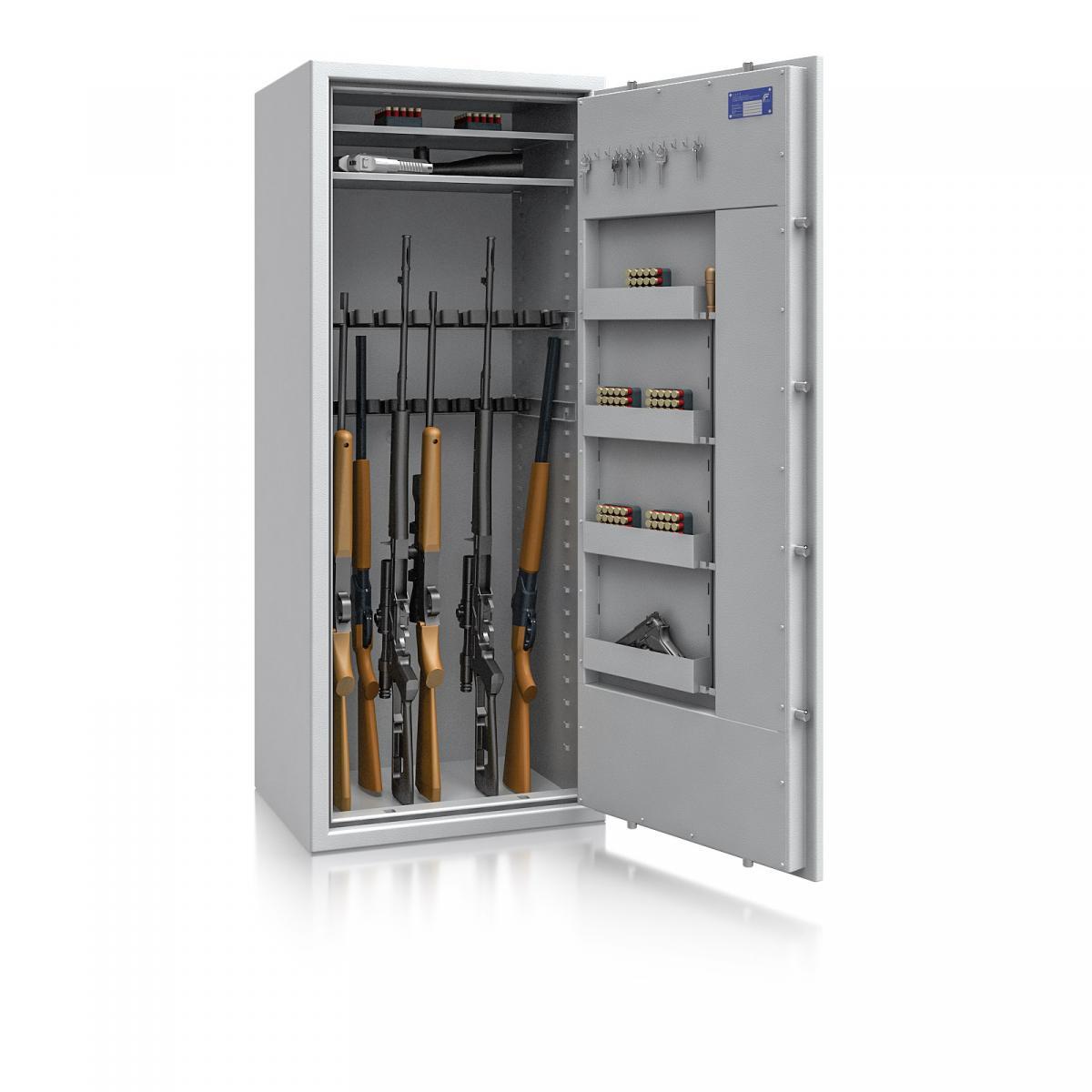 Waffenschrank St. Gallen WF MAX 4 - 1600x655x500 / 237kg 56469 / Klasse I / RAL7035 / Schlüssel / DIN R