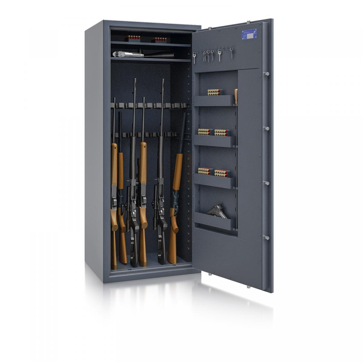 Waffenschrank St. Gallen WF MAX 4 - 1600x655x500 / 237kg 56469 / Klasse I / RAL7024 / Schlüssel / DIN R