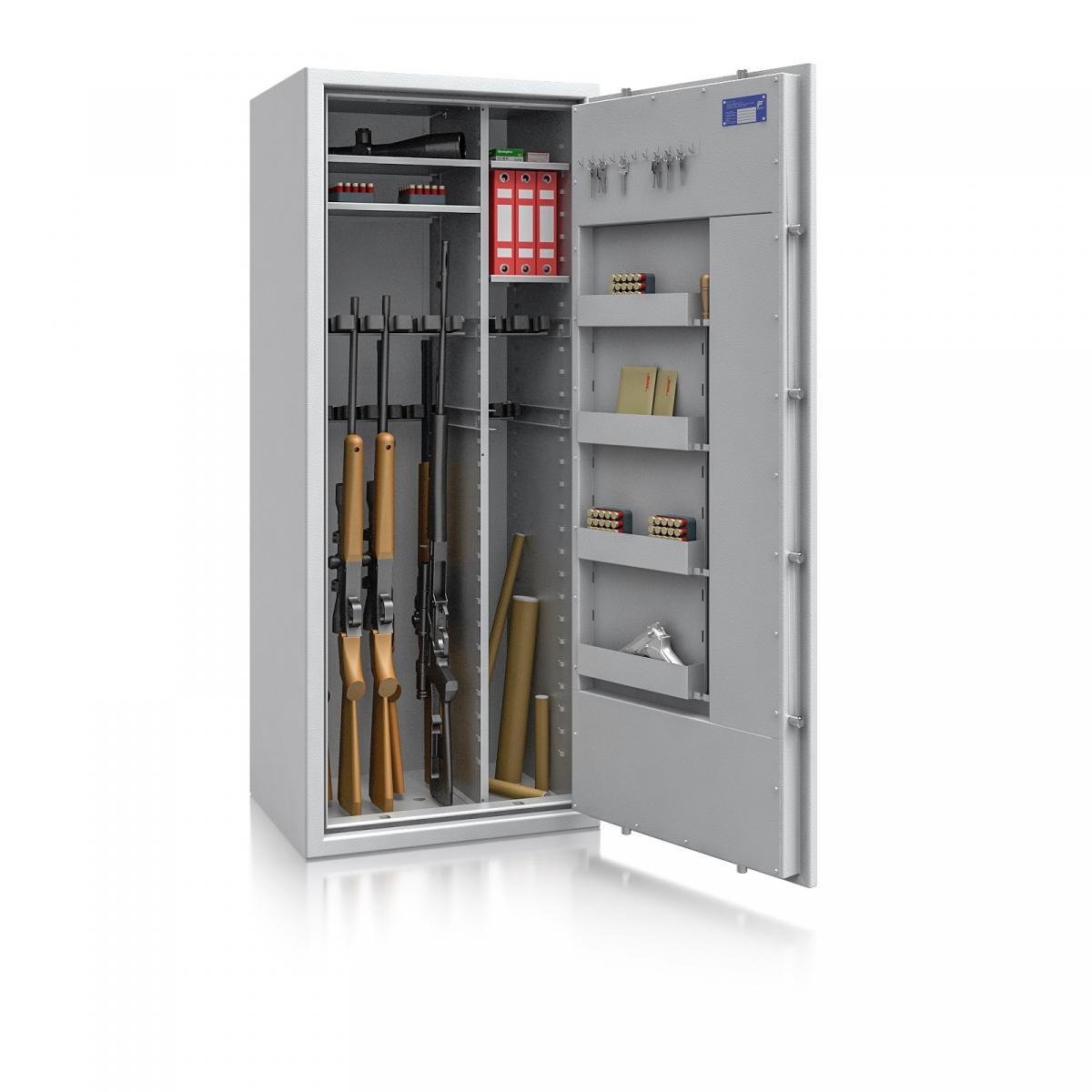 Waffenschrank St. Gallen WF MAX Kombi 3 - 1600x655x500 / 247kg 56469 / Klasse I / RAL7035 / Schlüssel / DIN R / mit Trennw.