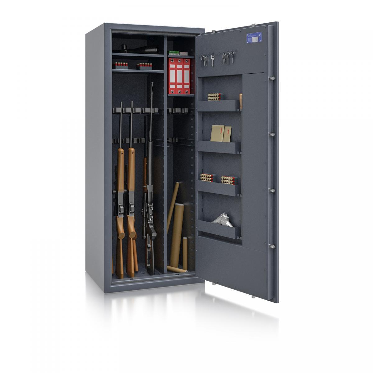 Waffenschrank St. Gallen WF MAX Kombi 3 - 1600x655x500 / 247kg 56469 / Klasse I / RAL7024 / Schlüssel / DIN R / mit Trennw.