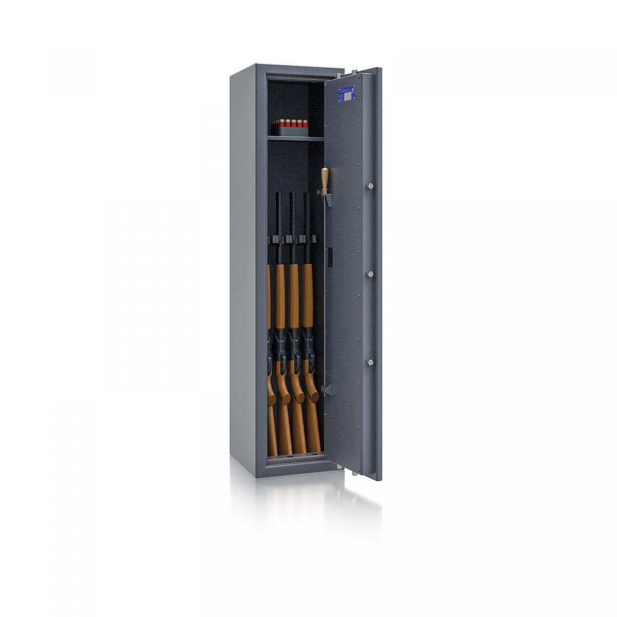 Waffenschrank St. Gallen WF NEW 3 - 1500x350x350 / 131kg 56472 / Klasse I / RAL7024 / Elektr. Basic / DIN R