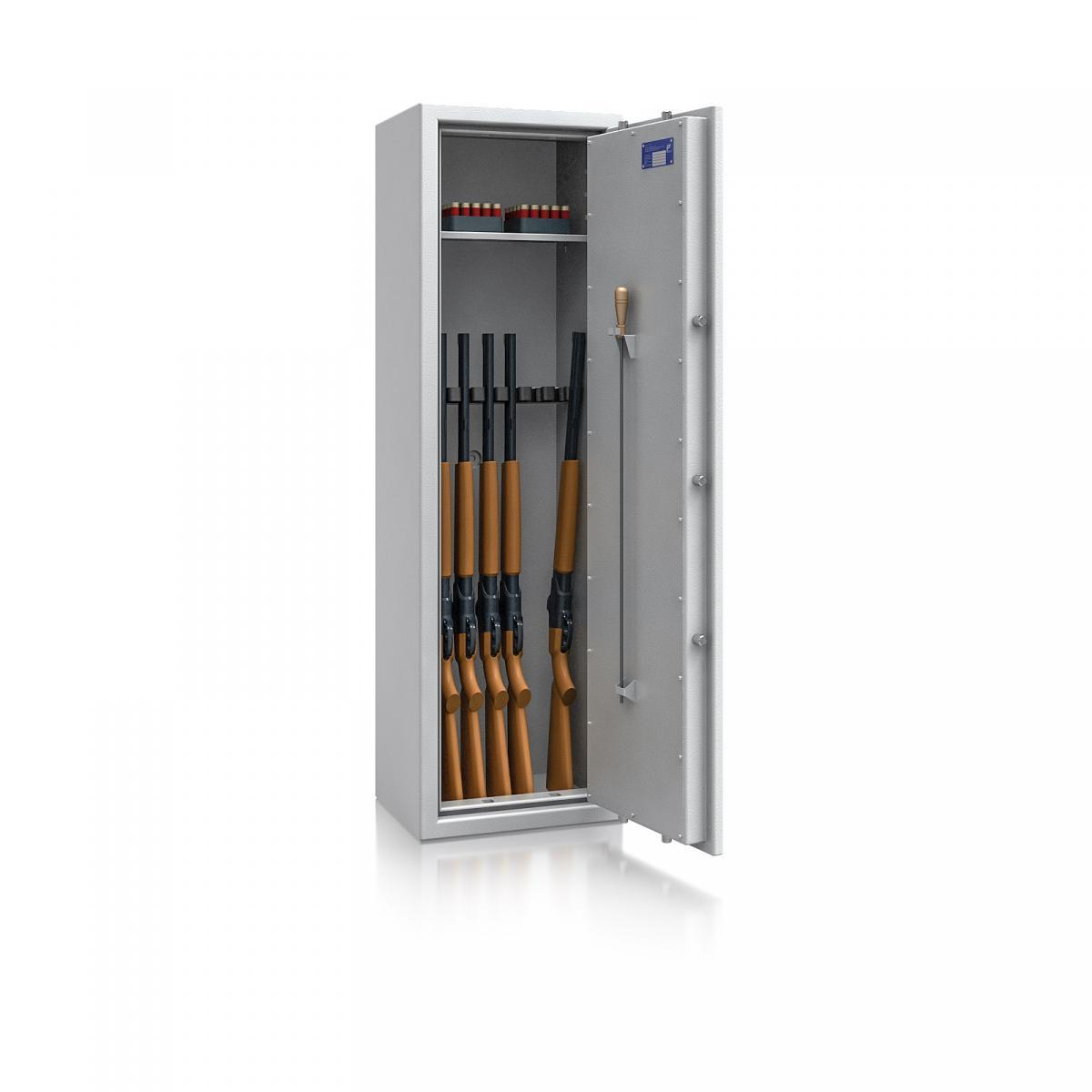 Waffenschrank St. Gallen WF NEW 4 - 1500x450x350 / 150kg 56473 / Klasse I / RAL7035 / Schlüssel / DIN R