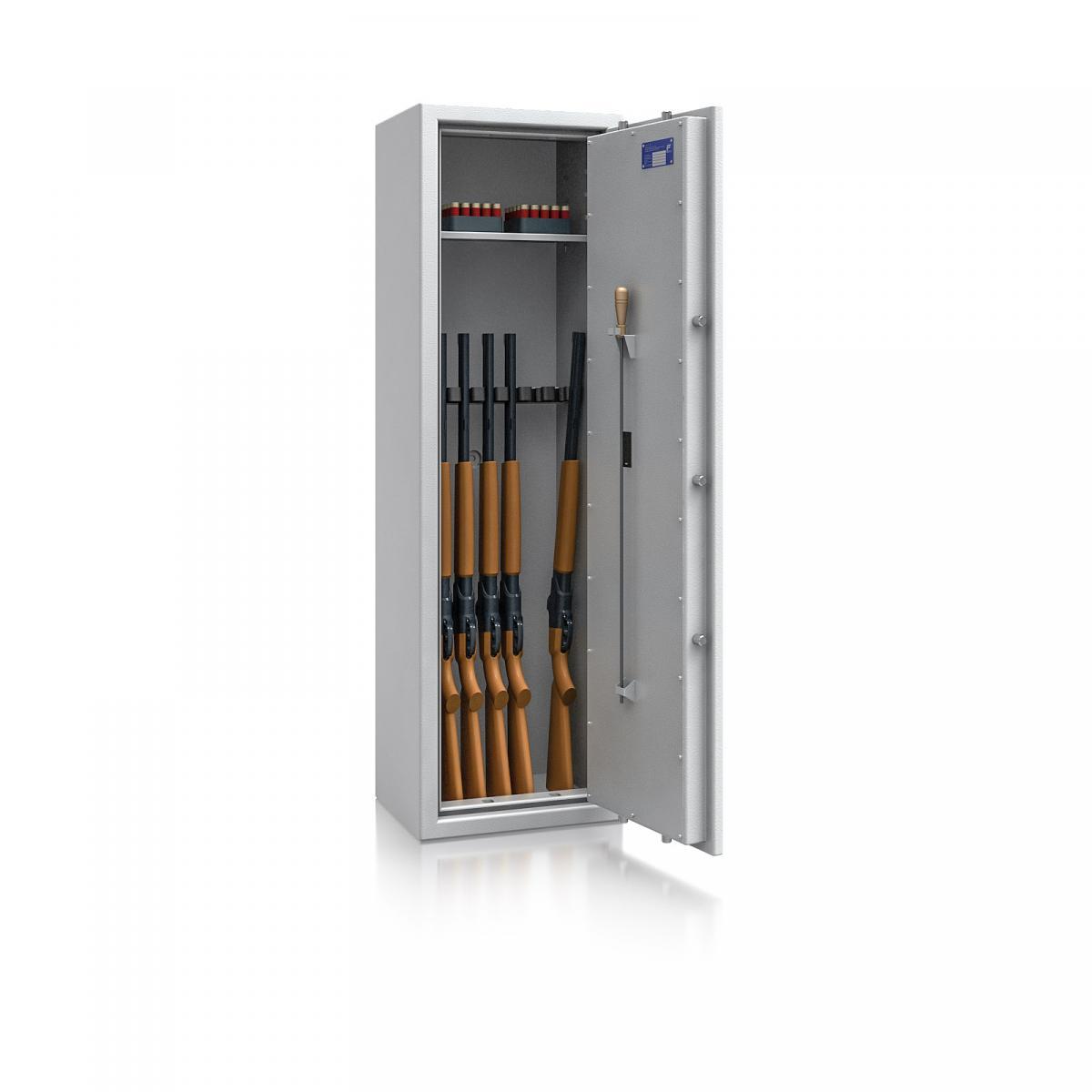 Waffenschrank St. Gallen WF NEW 4 - 1500x450x350 / 150kg 56473 / Klasse I / RAL7035 / Elektr. Basic / DIN R