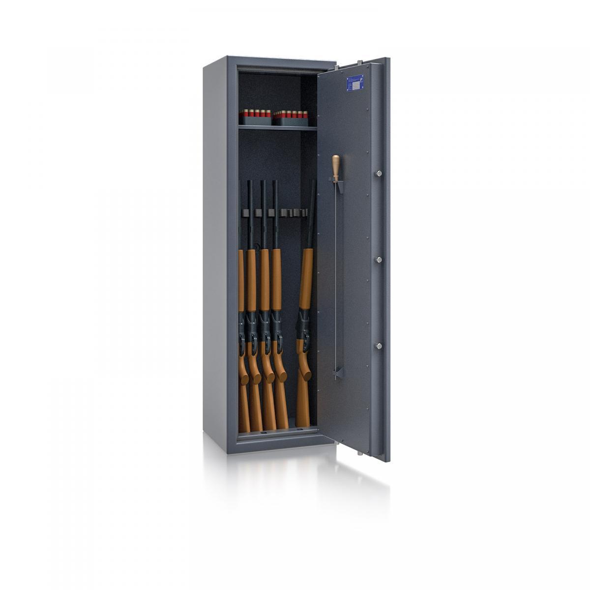 Waffenschrank St. Gallen WF NEW 4 - 1500x450x350 / 150kg 56473 / Klasse I / RAL7024 / Schlüssel / DIN R