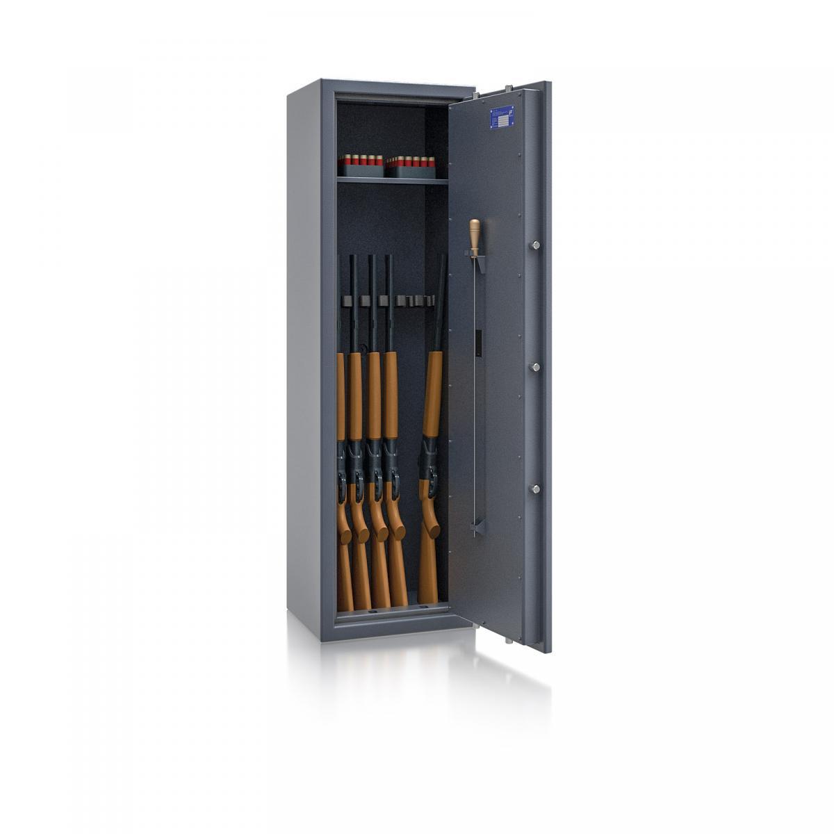 Waffenschrank St. Gallen WF NEW 4 - 1500x450x350 / 150kg 56473 / Klasse I / RAL7024 / Elektr. Basic / DIN R