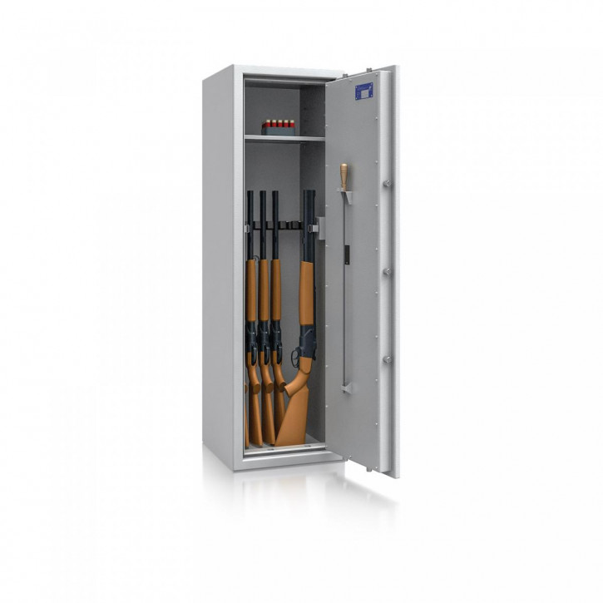 Waffenschrank St. Gallen WF NEW 5 - 1500x450x450 / 170kg 56474 / Klasse I / RAL7035 / Elektr. Basic / DIN R