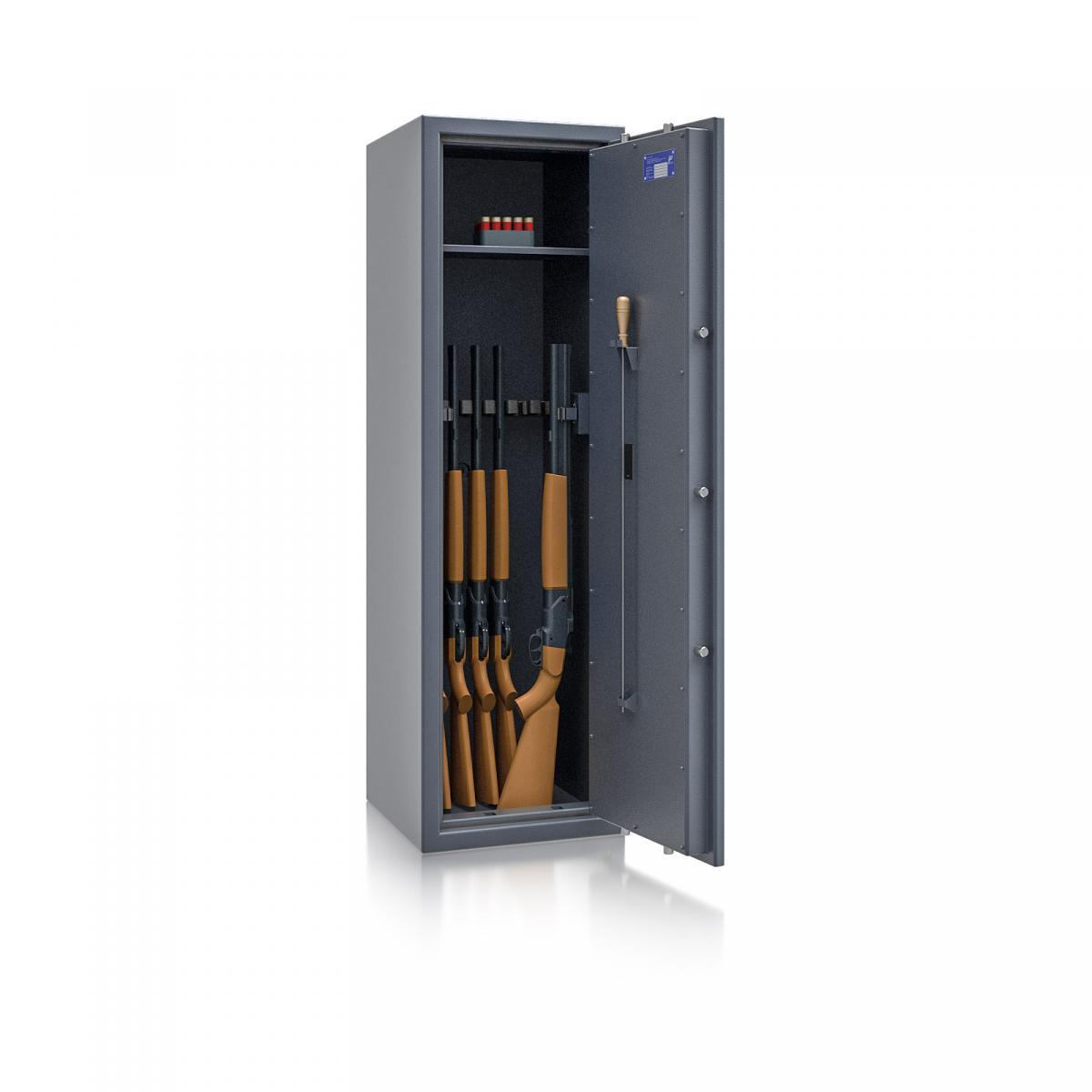 Waffenschrank St. Gallen WF NEW 5 - 1500x450x450 / 170kg 56474 / Klasse I / RAL7024 / Elektr. Basic / DIN R
