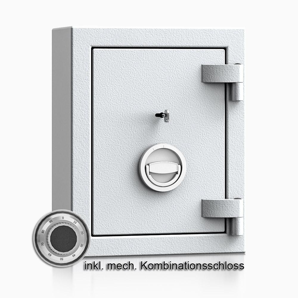 Kurzwaffenschrank - safe4gun 1 - 440x330x165 / 30kg 593100 / Klasse 1 ECB•S / RAL7035 / mech.ZK / DIN R