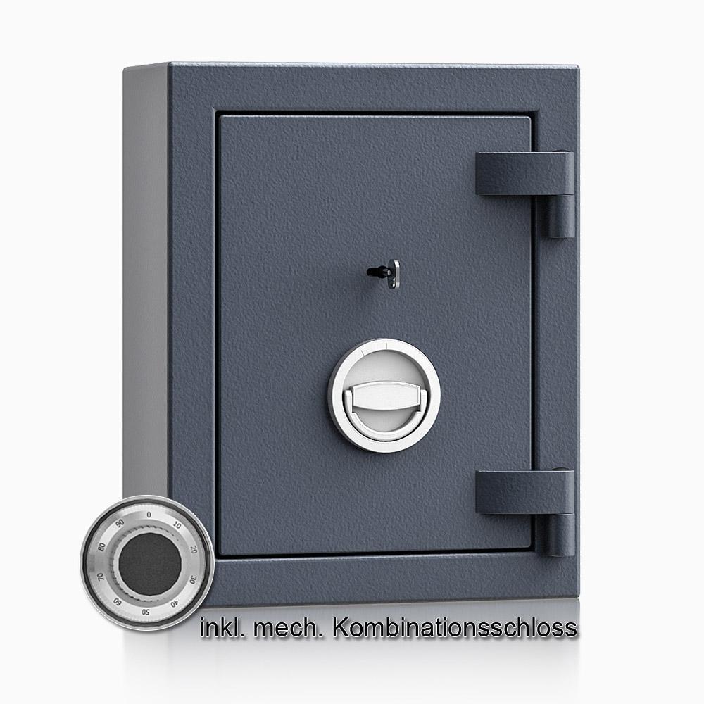 Kurzwaffenschrank - safe4gun 1 - 440x330x165 / 30kg 593100 / Klasse 1 ECB•S / RAL7024 / mech.ZK / DIN R