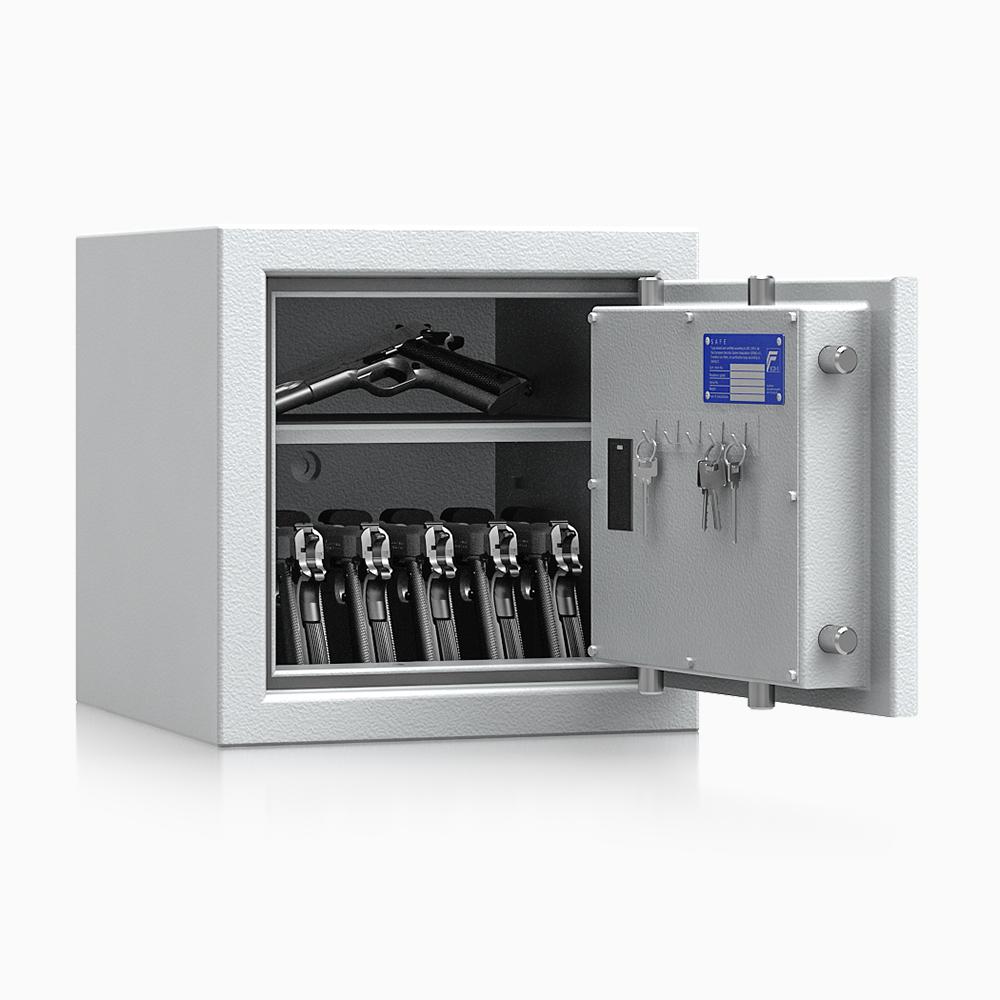 Kurzwaffenschrank - safe4gun 3 - 400x420x420 / 55kg 593102 / Klasse 1 ECB•S / RAL7035 / Elektr. Basic  / DIN R