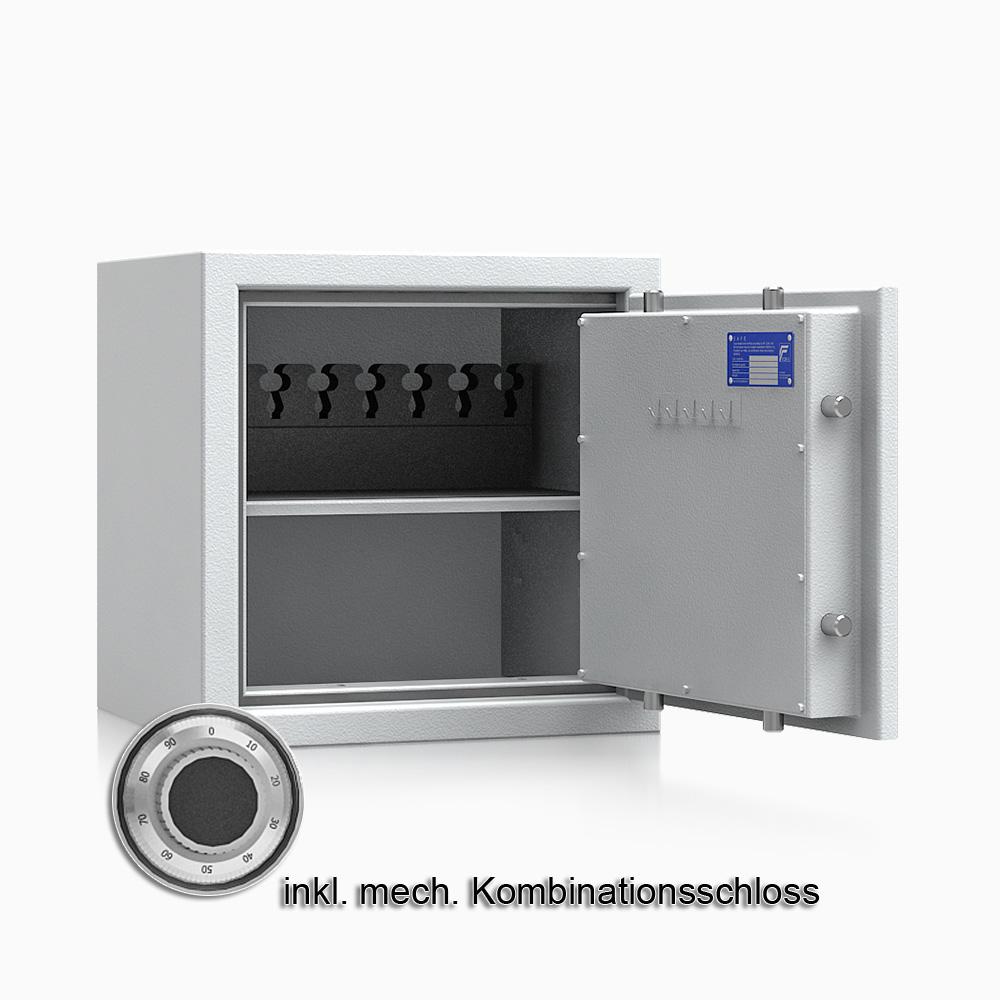 Kurzwaffenschrank - safe4gun 4 - 500x500x420 71kg 593103 / Klasse 1 ECB•S / RAL7035 / mech.ZK / DIN R