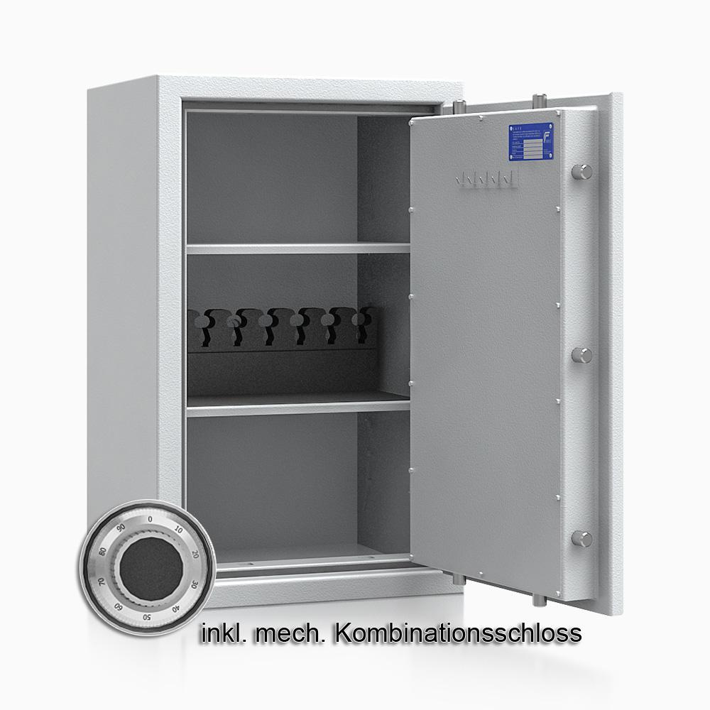 Kurzwaffenschrank - safe4gun 6 - 800x500x420 100kg 593105 / Klasse 1 ECB•S / RAL7035 / mech.ZK / DIN R