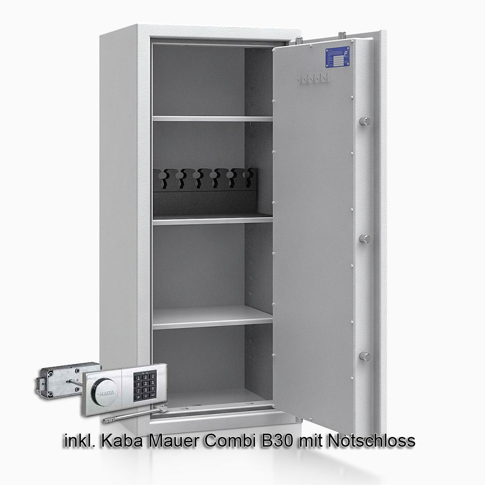 Kurzwaffenschrank - safe4gun 8 - 1150x500x420 135kg 593107 / Klasse 1 ECB•S / RAL7035 / B30/Rev. / DIN R