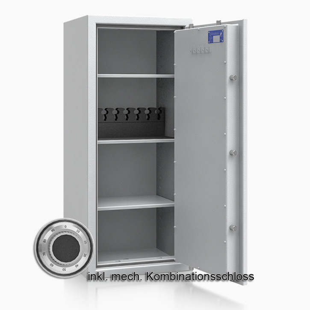 Kurzwaffenschrank - safe4gun 8 - 1150x500x420 135kg 593107 / Klasse 1 ECB•S / RAL7035 / mech.ZK / DIN R