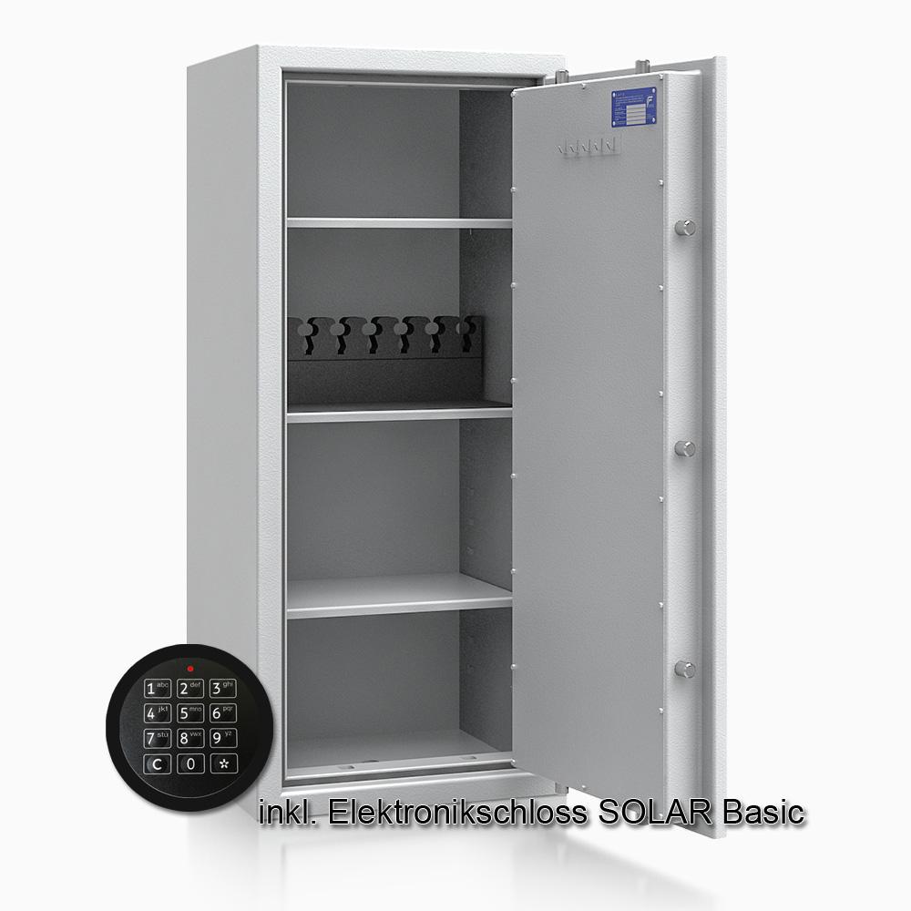 Kurzwaffenschrank - safe4gun 8 - 1150x500x420 135kg 593107 / Klasse 1 ECB•S / RAL7035 / Elektr. Basic  / DIN R