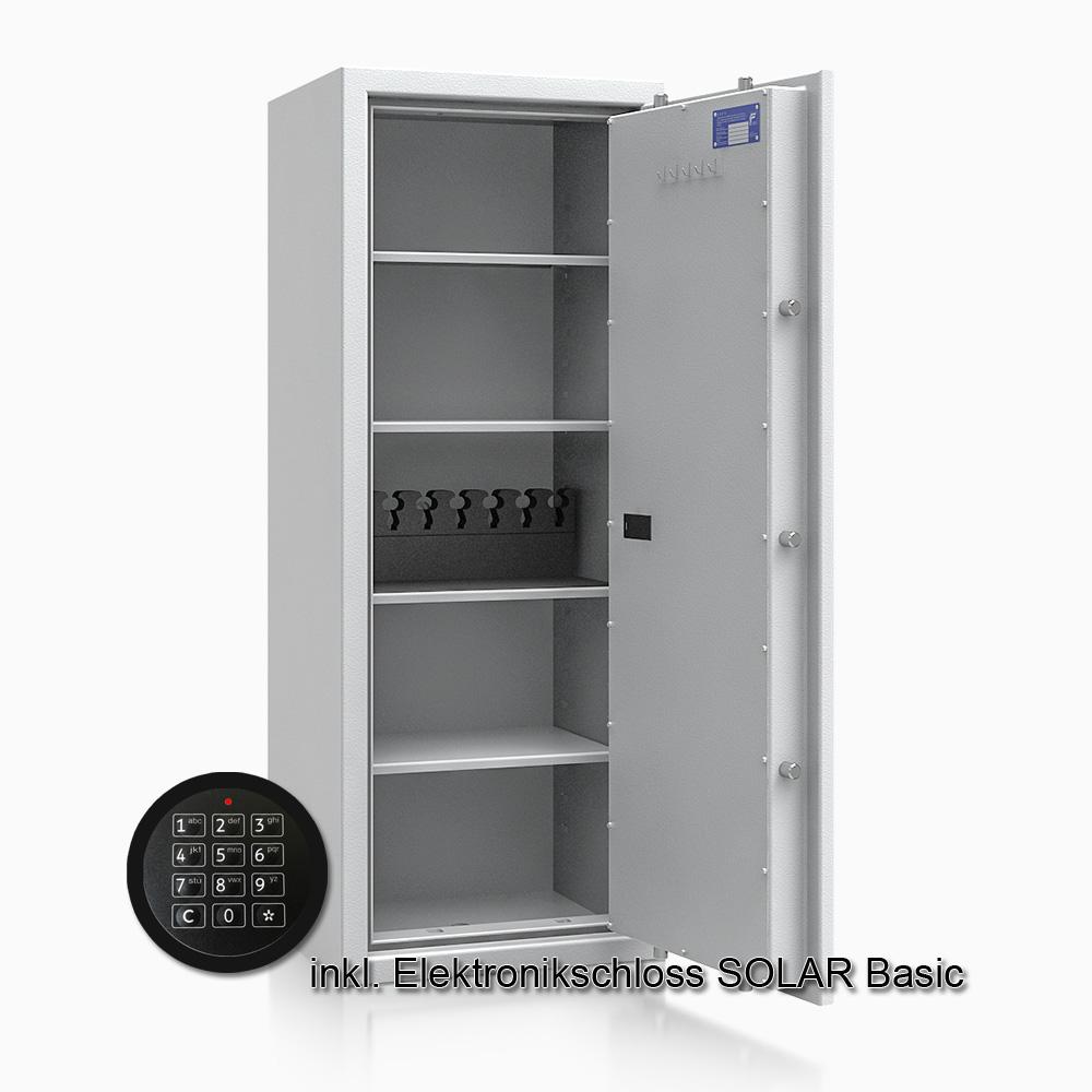 Kurzwaffenschrank - safe4gun 9 - 1300x500x420 150kg 593108 / Klasse 1 ECB•S / RAL7035 / Elektr. Basic  / DIN R