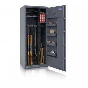 Waffenschrank St. Gallen WF MAX Kombi 3 - 1600x655x500 / 247kg 56469 / Klasse I / RAL7024 / B30 Elektr.+Notschloss / DIN R / Trennw.